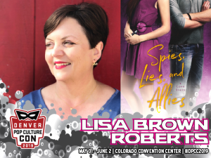 photo of Lisa Brown Roberts and book cover of Spies, Lies, and Allies