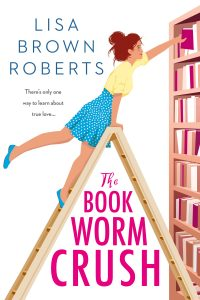 book cover showing girl on a ladder reaching for a book on a bookshelf